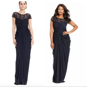New Adrianna Papell Illusion Lace Pleat Gown